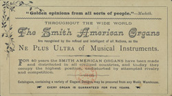 Advert for the Smith American Organ & Piano Company, reverse side